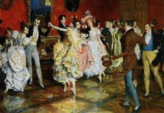 .:. At the Ball.Leopold Schmutzler (Austrian, 1864-1941). Oil on canvas.By the turn of the century, Schmutzlerhad become one of the busiest portrait painters in Munich. He received important commissions from the Bavarian Royal Family, but also portrayed dancers and other popular performers. In this genre work, the many dancers, wearing their finest clothing, are having a fine time at the ball.