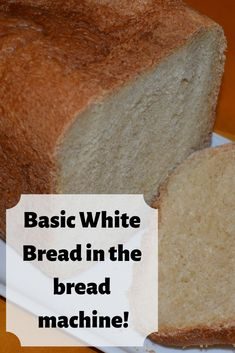 Recipe for basic white bread in a bread machine!You can find Bread machine recipes and more on our website.Recipe for basic white bread in a bread machine! White Bread Machine Recipes, Best Bread Machine, Bread Maker Recipes, Loaf Recipes, Cooking Recipes, Bread Maker White Bread Recipe, Fluffy White Bread Machine Recipe, Bread Machine Cornbread Recipe, Sandwich Bread Recipe For Bread Machine