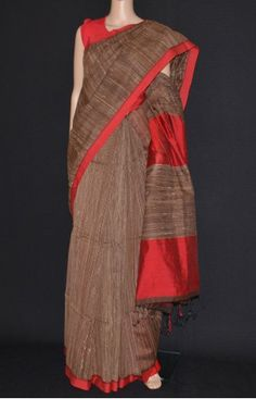 Brown & Red Phulia Cotton Silk Handloom Saree