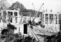 Rhodes Memorial Under Construction - 1905 to 1908 Italian masons were employed to cut up huge granite blocks, in Paarl.