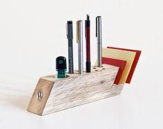 Desk Organizer Salvaged Wood Pen Holder Modern by lessandmore