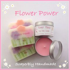 Flower Power gift sets, one soap and one candle in a gorgeous fragragrance of Rose, Jasmine, Frankincense and Patchouli, by SoaperblyHandmade on Etsy