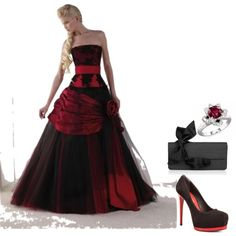 Red and Black Wedding Dress - Polyvore