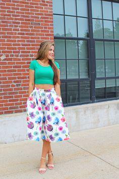 A Mix of Min Lulu's Watercolor Floral Midi Skirt http://bit.ly/1JzTfeQ