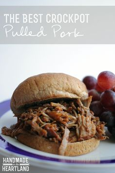 The Best CrockPot Pulled Pork, delicious and easy to make throw it in before work and dinner's waiting when you get home! Slow cook your dinner! HandmadeintheHeartland.com