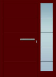 Modell Heze 1 Aluminium-Eingangstüre in rot mit Seitenteil - Außenansicht! Sternstunden-Türen erhätlich bei Fenster-Schmidinger aus Gramastetten in Oberösterreich! #doors #türen #alutüren #sternstunden