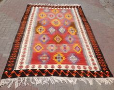 Turkish Kilim 117 x 63.5 Kilim rug Vintage Turkish by PocoVintage