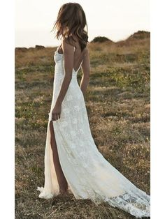 Ivory Lace Beach Wedding Dresses Backless Summer Rustic Wedding Dresses AWD1161