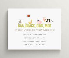 Your place to buy and sell all things handmade - baa quack oink moo birthday invitation set barn yard party - Party Animals, Farm Animal Party, Farm Animal Birthday, Farm Birthday, 2nd Birthday Parties, Third Birthday, Birthday Ideas, Safari Party, Mcdonalds Birthday Party