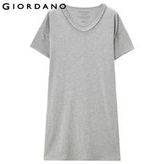 Giordano Women Dress 2017 Cotton Dress Short Sleeves Vestidos Summer Dress Fringe Detail Robe Femme