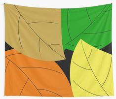 """""""Colorful Leafs, Colorful Leaves"""" Wall Tapestry by Tapestry Design, Wall Tapestry, Textile Prints, Sell Your Art, All Print, Autumn Leaves, Vivid Colors, Wall Decor, Colorful"""