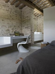 One of the five bedrooms of Casa Olivi, Treia, Italy - design Markus Wespi and Jerome de Meuron