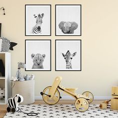 ► INSTANT DOWNLOAD: Safari Nursery Decor, Baby Animals Set of 4, Elephant, Giraffe, Lion, Zebra, Black And White Nursery Modern Animal Art, Baby Animal Prints, Kids Room Decor, Digital Printable Art. Print out this artwork from your home printer or local print shop to decorate your home