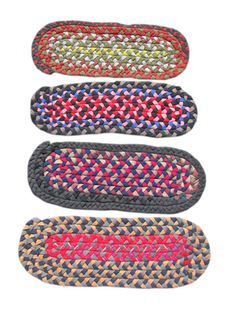 Braided rug mats.  I like the rustic, handcrafted nature of these mats, and the color combinations.