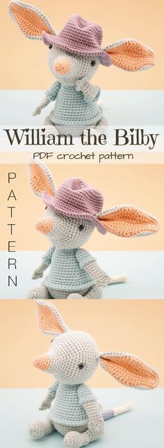 William the Bilby. Sweet little Australian amigurumi crochet toy pattern to make. What a cute little doll! I love his big ears. So cuddly and special to make for a little one! #etsy #ad #crochetpattern #stuffedtoy