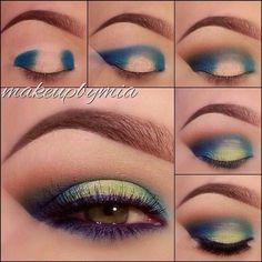 an easy two-toned effect with your eyeliner by adding a light, bright color to the center of the eyelid.Get an easy two-toned effect with your eyeliner by adding a light, bright color to the center of the eyelid. Make Up Looks, Beauty Make-up, Beauty Hacks, Beauty Tips, Natural Beauty, Beauty Care, Fashion Beauty, Beauty Style, Natural Makeup