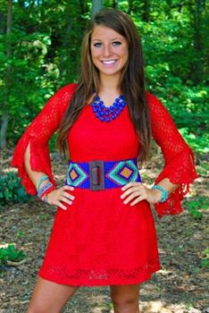 Wings Of A Dove Tunic Dress Red $42.99 #SouthernFriedChics