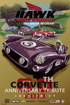 Road America Vintage style racing poster, Corvette, Vintage Racing. By © Dennis Simon. This poster is available at centuryofspeed.com