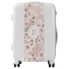 Vintage Pastel Floral Cherry Blossoms Monogram Luggage - floral style flower flowers stylish diy personalize
