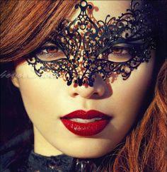 Princess Masquerade Mask - Elegant, Minimal, Luxurious Black Laser Cut Masquerade Eye Mask Customized with Blue Diamonds - Prom, Face Art