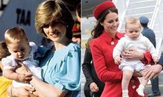Contrasting shots of the late Diana, Princess of Wales holding Prince William and HRH the Duchess of Cambridge holding Prince George, Prince William's son. Duchess Kate, Duke And Duchess, Duchess Of Cambridge, Princess Kate, Princess Of Wales, Prince William Son, George Vi, British Monarchy, Look Alike