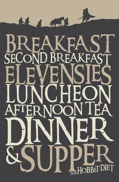Instant Download Hobbit Diet with Silhouette 11x17 by 716designs #kitchen