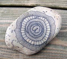 Rock 6: Micron pen (ink) on rock. August, 2012.  About 7 inches in length. stone paint, micron pen, pen ink, doodl, paint stone, paint rock, zentangle rocks, pens
