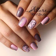 Nude nails, while popular, can be a bit of a snooze, but not with these cool nail designs and color accents. Nude Nails, Nail Manicure, Pink Nails, Purple Nail, Pink Purple, Fancy Nails, Pretty Nails, Ongles Beiges, Acrylic Nail Art