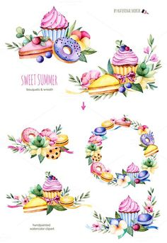 Explore more than illustration sets including watercolor, hand-drawn, and vector sets to use in projects for the web and print. Watercolor Logo, Watercolor Illustration, Watercolor Flowers, Cake Illustration, Cupcake Drawing, Cupcake Art, Food Drawing, Painting & Drawing, Printable Stickers