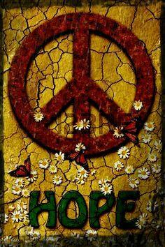 H☮PE Hippie Peace, Hippie Love, Hippie Art, Hippie Style, Peace On Earth, World Peace, Peace Sign Art, Peace Signs, Feelin Groovy