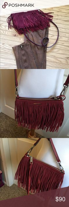"rebecca minkoff handbag Cross Body Beautiful red wine color Finn suede convertible cross body  Real suede fringe bag Gorgeous excellent clean condition  9 x 6 .25 with 22"" Strap Rebecca Minkoff Bags Crossbody Bags"