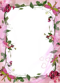 Transparent Pink Photo Frame with Pink Flowers. Pink Flower Pictures, Flower Picture Frames, Flower Frame, Pink Flowers, Paper Journal, Boarders And Frames, Photo Frame Design, Framed Wallpaper, Pink Photo