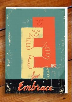 e is for embrace greeting card. by paul thurlby. at 1973.