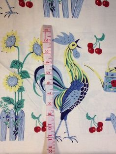 Rooster Retro French Country Vintage Anna Griffin Cotton Fabric Quilt Fabric AG03