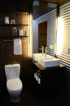 Image result for corrugated metal in bathroom
