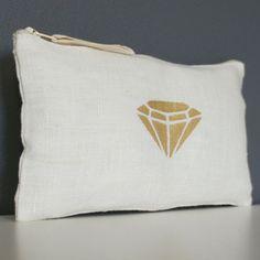 Trousse en lin blanc avec un motif diamant – coloris doré et fluo