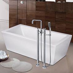 Moderne Art Deco Retro Badekar & Bruser Vandfald bred spary Gulvstående with Keramik Ventil To Håndtag To huller for Krom