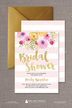 Boho Chic Pink Stripe Bridal shower invitations
