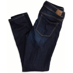 """Super Stretch cotton denim, Mid 9.25"""" front rise, Medium blue wash, Light fading and whiskering details, Skinny 11.25"""" leg opening, 29"""" inseam. Female, size 2 …"""