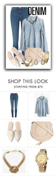 """Casual Wear - Denim All Over"" by sonyastyle ❤ liked on Polyvore featuring River Island, Madewell, Chloé, BCBGMAXAZRIA, Shinola, Sara Weinstock, polyvoreeditorial, polyvorecontest, alldenim and shinola"