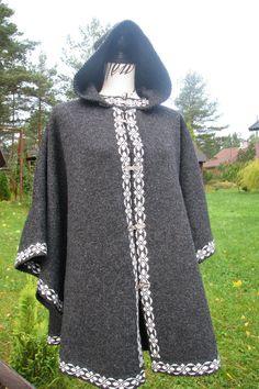 graphite poncho knit poncho wool poncho Scandinavian poncho