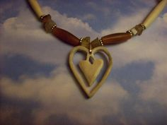 Alaskan Moose Antler 3-d Heart Bone Horn Agate Beaded Necklace Free Shipping and Gift $22.80
