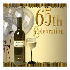 Wine Glass Bottle Gold 65th Birthday Party Personalized Announcement Anniversary Invitations Parties