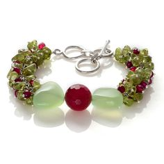 Hebei Peridot, Magenta Agate Enhanced, Enhanced Chalcedony Bracelet in Silvertone with Toggle Lock (7.5 in) TGW 91.35 cts.