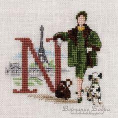 point de croix femme, alphabet lettre N - cross stitch woman, alphabet letter N