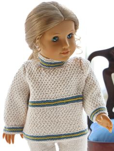 Knitted doll clothes for 18 inch doll - A light, simple and very nice outfit for the doll Crochet Doll Dress, Knitted Dolls, Crochet Hats, Doll Costume, Costumes, 18 Inch Doll, American Girl, Baby Dolls, Doll Clothes