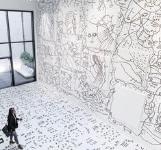 Affirmational Text Art and Doodles Combine in Immersive Murals by Shantell Martin | Colossal Animal Art Projects, Clay Art Projects, Black And White Doodle, Spring Art Projects, Vintage Illustration Art, Art Deco Bathroom, Art Drawings Beautiful, Colossal Art, Wall Drawing