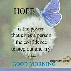 Good Morning....Hope is the power that gives a person the confidence to step out and try.