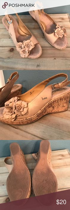 Born Concept tan/ gold wedges Good condition 3 inch wedges in beautiful tan/gold. Size 8 by Born Concept. Born Concept Shoes Wedges