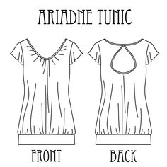 Ariadne Tunic technical drawing  Free pattern.  I don't want the cut out in the back and should probably raise the neckline a bit